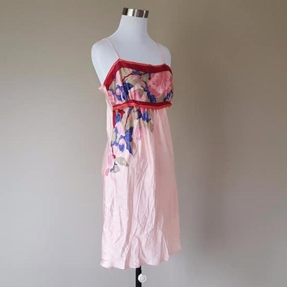 0ee0b304e4 Silk Depot Intimates & Sleepwear | Full Slip Dress Silk Pink Floral ...